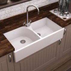 Villeroy & Boch Butler 90 Double Bowl Kitchen Sink White Ceramic ...