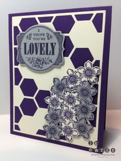 Stampin' Up!, Pals Paper Arts 182, You're Lovely, Petite Petals, Hexagon Hive Thinlits, Deco Labels Framelits, Petite Petals Punch by maureen