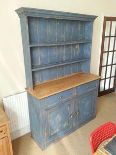 Victorian pine dresser, painted in Annie sloan greek blue