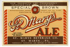 ST. MARYS ALE SPECIAL BROWN BEER LABEL | 1933-1940