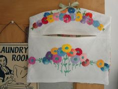 peg bag made from vintage hand embroidered linen