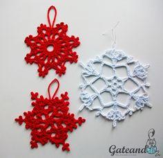 Patrón copos de nieve crochet / Free pattern crochet snowflakes for Christmas.