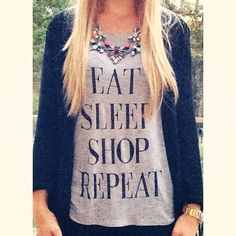{ Eat. Sleep. Shop. Repeat. } 💜 Comfy Tuesday + Pizza Night // Tap Photo For Details! #OOTD #OOTN #Tuesday #InstaStyle #WIW #WhatIWore #Blogger #StatementNecklace #GraphicTee