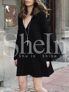 Vestido manga larga cuello V -negro 13.57