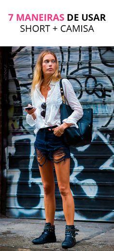 Descubra como usar a mistura do super casual short jeans, com camisa. Nós amamos!