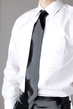 Going to a formal event and need something more out-of-the-box?  How about a mens latex tie! . Buy the supplies to make this: http://mjtrends.com/pins.php?name=black-latex-for-mens-tie