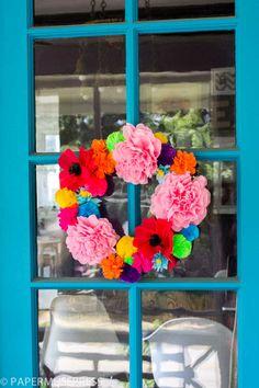 Crepe paper flower wreath DIY @ Paper Muse Press