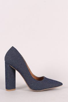 This single sole pump features a pointy toe silhouette, scooped vamp, and chunky wrapped heel. Finished with a lightly padded insole and easy slide style. Pump Shoes, Pumps, Heels, Heeled Mules, Denim, Fashion, Heel, Moda, Fashion Styles