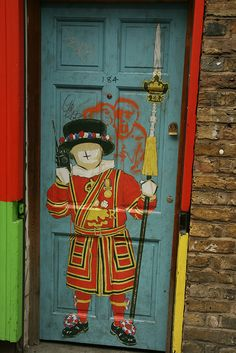 London Street Art, door in Brick Lane
