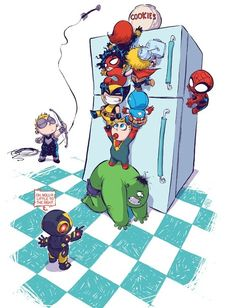 It's the Avengers, baby! Babies, by Skottie Young. Who will get to the cookies first? <<I'm voting Hawkeye.
