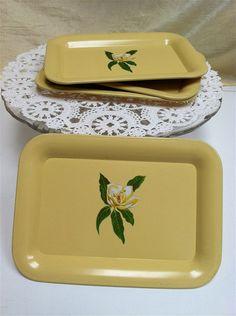 1950s Creamy Yellow Gardenia Design Litho Tray by ScarlettsFancies, $12.00