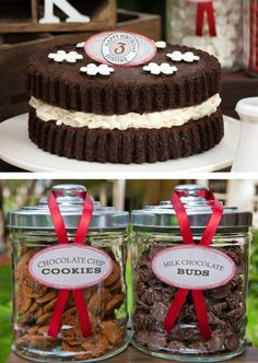 """""""Vintage Milk and Cookies"""" party theme ~ cute """"Oreo cookie"""" decorated cake would be easy to make."""
