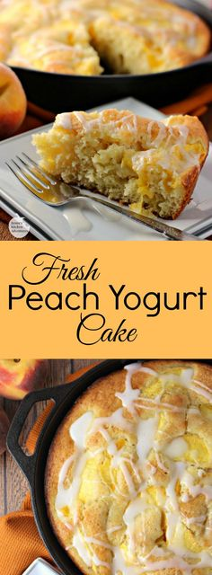 Fresh Peach Yogurt Cake | by Renee's Kitchen Adventures - Dairy-free moist and tender fresh peach yogurt cake made possible with Silk® Almond Milk and Silk® dairy free Yogurt Alternative #Swapmilk4Silk #ad #cbias