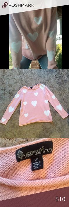 Pink heart shirt  Says size larger but I would say it could definitely fit a small or medium oversized. Very cute! Perfect for Valentine's Day coming up in a week Signature Studio Tops