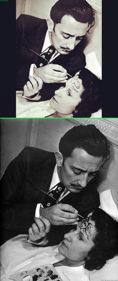 Fake - Salvador Dali painting a penis on his wives head and signing it Picasso. - The original image of Dali's wife Gala with a medusa on her forehead is shown on the bottom....