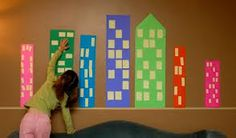 masking tape murals; paper, post-its and tape Preschool Classroom, Preschool Activities, Toddler Preschool, Construction Theme, Construction Paper, Construction Business, Sticky Note Crafts, Post It Art, Communities Unit