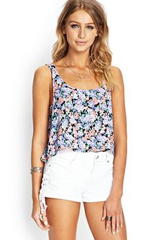 Sweet Escape Floral Tank | FOREVER21 - 2000089445 Pair this with some blue jean shorts or royal blue shorts and an over-sized grey sweater.