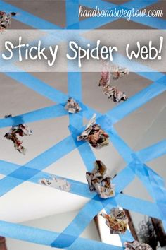 A sticky spider web activity - a perfect gross motor activity for Halloween! halloween games A Sticky Spider Web Activity for Kids - hands on : as we grow Halloween Tags, Halloween Activities For Kids, Kids Party Games, Halloween Themes, Halloween Crafts, Halloween Party, Homemade Halloween, Fun Games, Fall Halloween