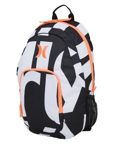 Hurley On & Only Backpack 20L - Pink/White/Black Model: One&Only 100% Polyester Basic school backpack Exterior zip pockets Mesh side pockets Adjustable padded shoulder straps Colour: Black/White Dimensions: 43 x 31 x 21cm or 17x12x8 Inch Volume: 20L #hurley #girl #women #fashion #snowboarding #winter #neon #bag #backpack #rubsak #christmas #idea #gifts #gift #school