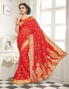 Red Banarasi Silk Saree With Blouse 64061