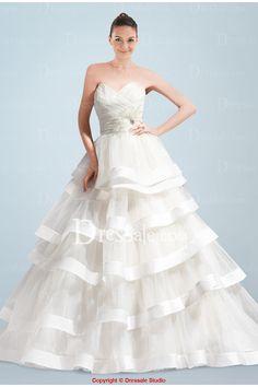 Tiered Satin Wedding Gown
