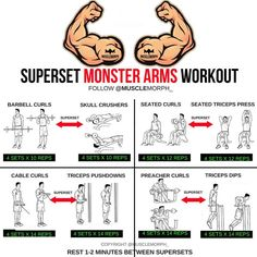 Want BIGGER Arms? Try this workout 👆🏻LIKE/SAVE IT if you found this useful. FOLLOW @musclemorph_ for more exercise & nutrition tips 💪🏻 . *A Superset is when you do two exercises back to back with no rest between them. The goal here is not to move heavy weights; you'll use lighter weights than normal to hit target rep ranges . TAG A GYM BUDDY . ✳Enhance your progress with @musclemorph_ Supplements ➡MuscleMorphSupps.com #MuscleMorph via ✨ @padgram ✨(http://dl.padgram.com)