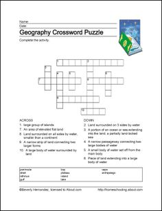 10 Worksheets That Will Teach Your Child Basic Geography Terms: Geography Crossword Puzzle