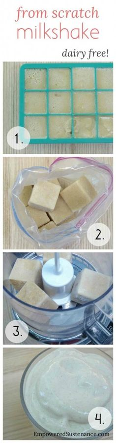 "Healthy (and dairy free) milkshakes: make these ""milkshake cubes"" then just blend them up when you want a milkshake."