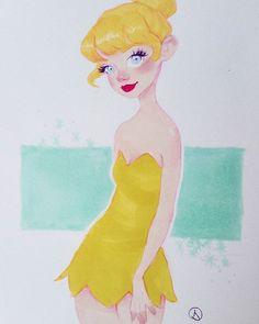 Tink 🍄 #art #drawing #sketch #sketchy #sketchbook #tinkerbell #disney #fairy #portrait #markers #cute