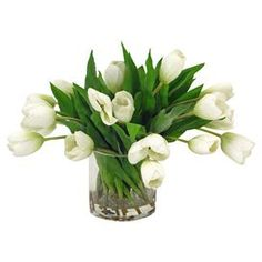 """Faux tulip arrangement in a glass vase.   Product: Faux floral arrangementConstruction Material: Fabric, acrylic and glassColor: MultiFeatures:   Realistic faux waterClassic look Dimensions: 16 H x 20"""" Diameter  Cleaning and Care: For indoor use only. Wipe with feather duster or damp rag."""