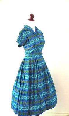 Vintage 1950s Mid Century Blue and Green by RetroKittenVintage, $42.00