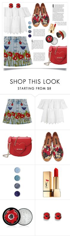 """""""Poppy Denim"""" by feelgood35 ❤ liked on Polyvore featuring Gucci, Madewell, Love Moschino, Dolce&Gabbana, Terre Mère, Yves Saint Laurent, The Body Shop and Porsche"""