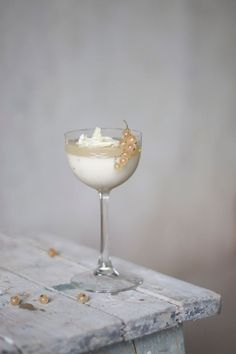 Coconut Panna-Cotta with Currant Jelly & White Chocolate Flakes