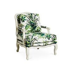 Harper Bergère Palm Leaf Accent & Occasional Chairs ($1,699) ❤ liked on Polyvore featuring home, furniture, chairs, accent chairs, nailhead accent chair, nailhead furniture, nail head chair, nailhead chair and tropical furniture