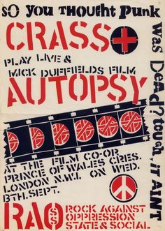 Poster promoting a gig by Crass, UK, 1978. Source: Punk: An Aesthetic
