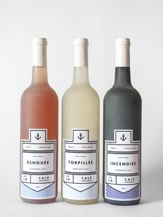 La Cale by Mélanie Laviolette Étiquettes de vins québécois racontant l'histoire des naufrages du Fleuve Saint-Laurent.