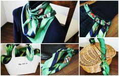 スカーフ巻き方 http://ameblo.jp/komatsu1108/entry-12106068969.html スカーフ巻き方 スカーフコーデ scarf arrangement エルメス カレ HERMES carres アラフォーファッション