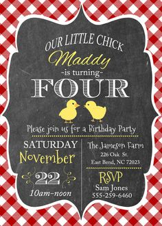 Chalkboard Red Gingham Little Chick Party by themilkandcreamco