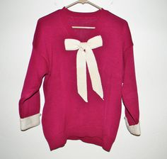 Vintage cotton knit sweater in fuchsia with white by FeliceSereno, $20.00