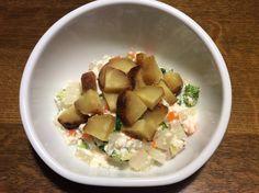 大根・人参・ズッキーニ・ブロッコリーの白和え風、焼芋のせ