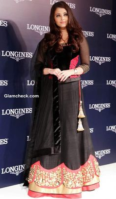 Aishwarya Rai Bachchan in Royal Black Lehenga Launches Longines Watch Collection Lengha Choli, Anarkali, Sarees, Bollywood Stars, Bollywood Fashion, Indian Dresses, Indian Outfits, Indian Clothes, Black Lehenga