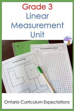 This Linear Measurement Unit for 3rd grade contains lesson ideas, worksheets, activities, task cards, and a test that covers the Ontario Curriculum expectations. It covers perimeter, area, and measuring height, width, and length in centimetres, metres, and kilometres.