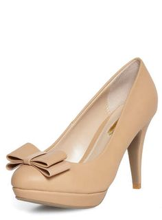 Camel high bow detail court shoes
