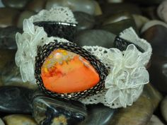 BRACELET  Orange Jasper Gemstone Ivory Lace by EVERCHICJEWELRY, $24.00
