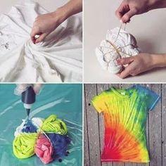 Camiseta customizada estilo Tiediy.Aprenda fazer a sua❗ Enrole a camiseta  assim como no a811df7683f93