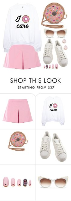 """""""Crazy about donuts"""" by deeyanago ❤ liked on Polyvore featuring moda, Love Moschino, Patricia Chang, adidas, Static Nails, Thierry Lasry, Kate Spade, WhatToWear e donutsfashion"""