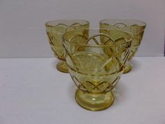 Federal Glass Rosemary Dutch Rose Amber Sugar Bowls Sherbets Three from saltymaggie on Ruby Lane