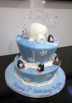 Winter cake for a kids winter birthday