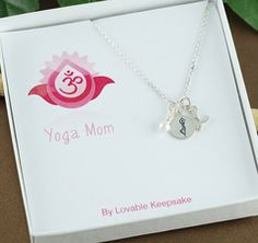 Yoga Mom Necklace / Yoga charm necklace, Silver yoga charm necklace, Yoga lover's necklace, Silver charm necklace, Gift for yoga lover