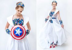 These awesome bridal separates were created by bridalwear designer Karen Dornellie, who channelled superheroes and the 1960s for a shoot with wedding collective Coocouture